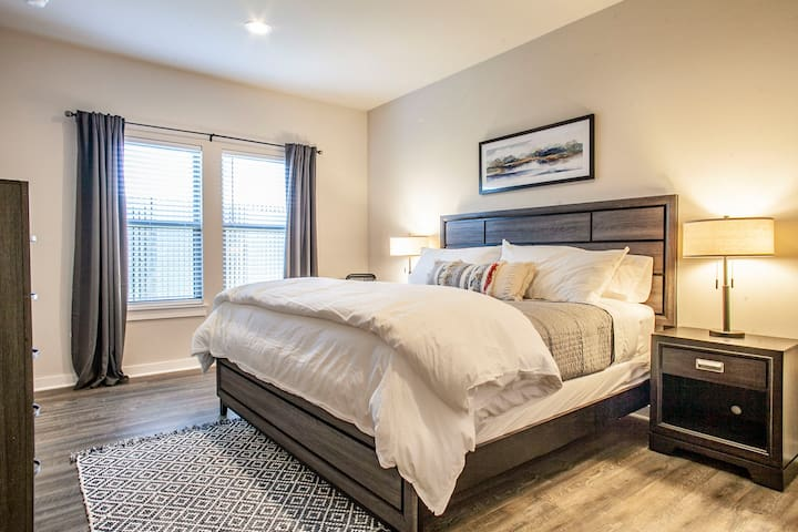 Both master suites include room darkening curtains so you can easily sleep in if you want to.