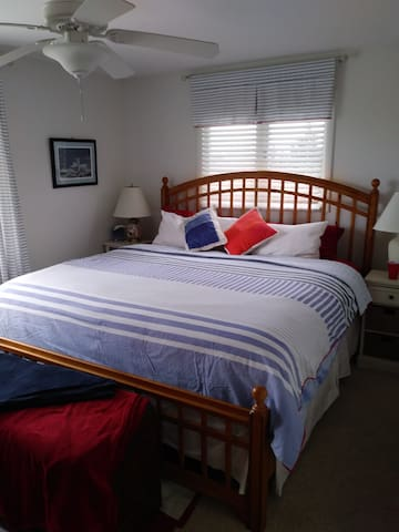 Entry level master bedroom, king bed, T.V., free standing A/C unit, lake view