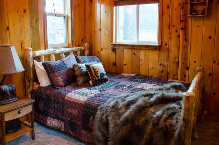 """Upstairs Bedroom with vaulted ceilings. The """"Bear Room""""."""