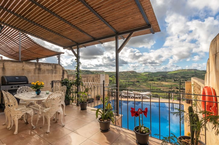 Terrace with Barbecue Facilities Overlooking Pool, Mountain, Country, and Sea Views