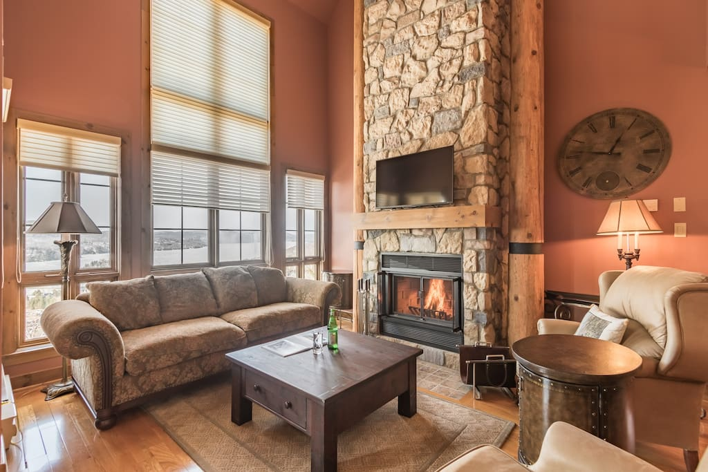 Warm fireplace after a day of skiing.