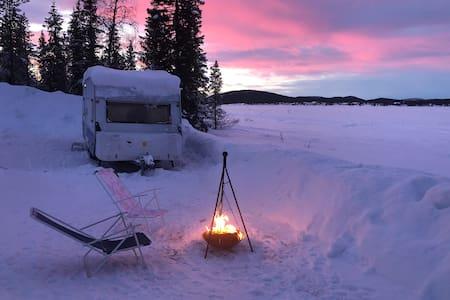 Northern-lights caravan,  neighbor with reindeers