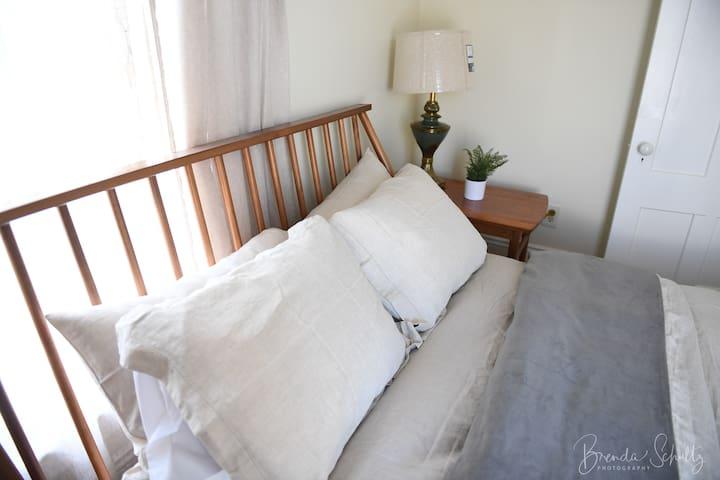 Comfy new memory foam mattress bed with velvet and linen duvet ensure a good night's sleep.