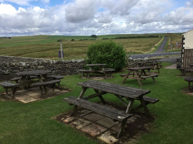 View to Hadrian's Wall from pub garden