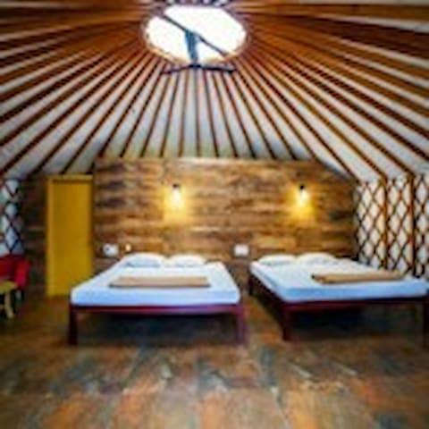 Inside of the Yurts, with 2 beds