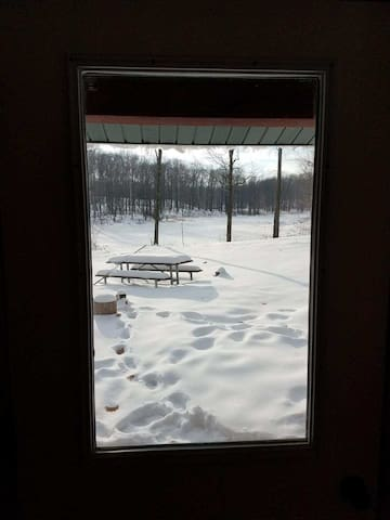 View from the door inside the cabin