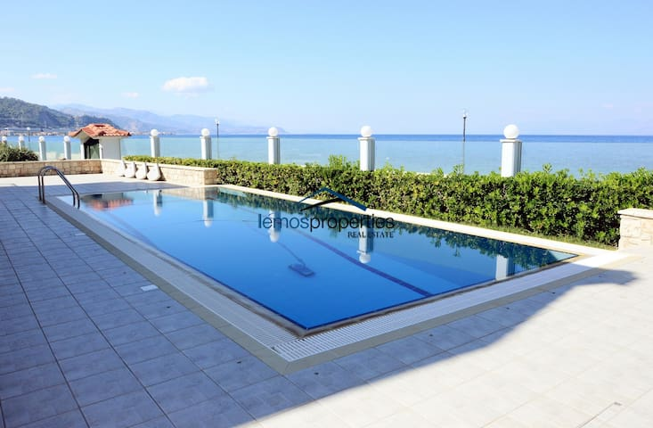 Waterfront villa with a pool and a great sea view