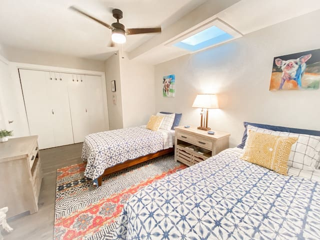 If your coming with a bestie or kiddo they'll love the fun colors and comfy twin size beds in the spare bedroom. We also offer a queen size blowup mattress with bedding for additional beds and guest.