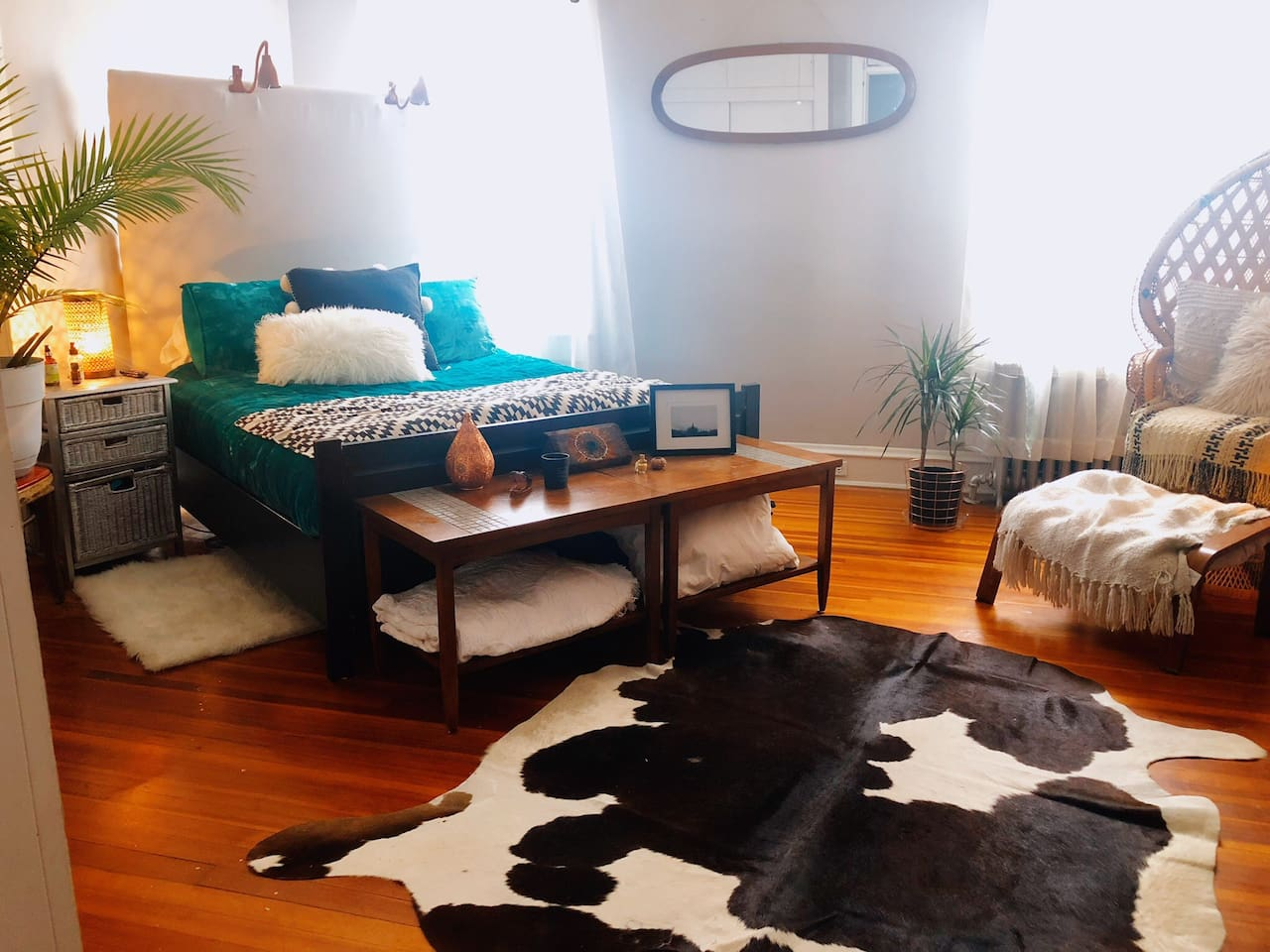 Master Bedroom with a Queen size bamboo mattress and cool touch topper and pillows wrapped in 100% crisp cotton sheets and lush velvet comforter. with flat screen tv and fully loaded Roku included HBO-Netflix-Amazon-Hulu.