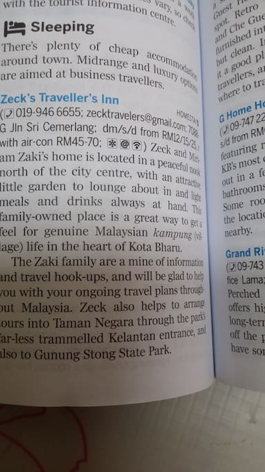 Zecks Travellers Inn featured in Lonely Planet guidebook 2016 latest edition