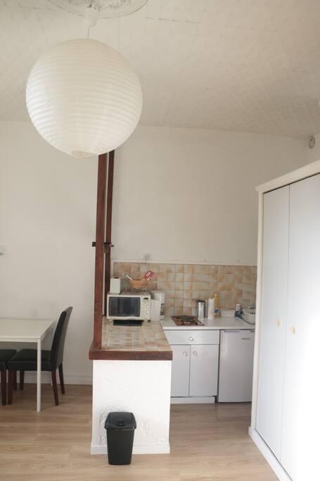 Le coin cuisine et les 2 armoires intégrées...tout l'espace est optimisé