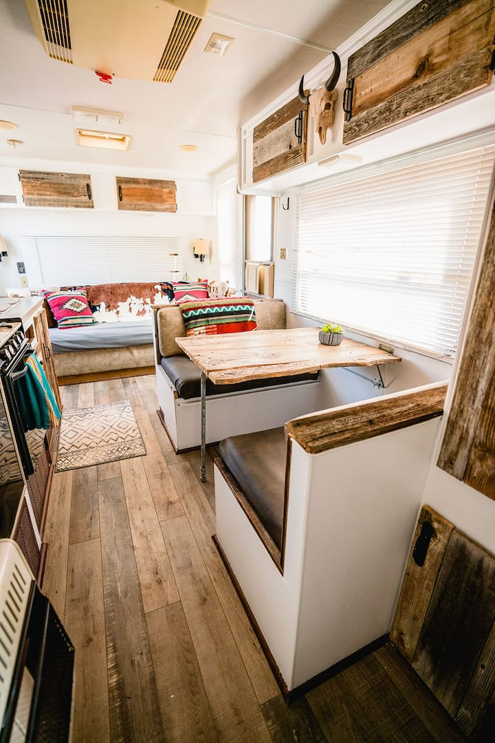 Sleep under the stars in renovated vintage trailer