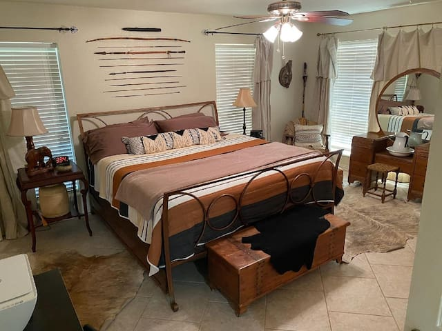 King sized bed in master bedroom.
