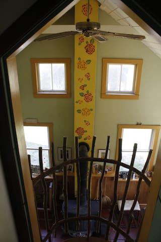 Bedroom balcony looking into Family Room