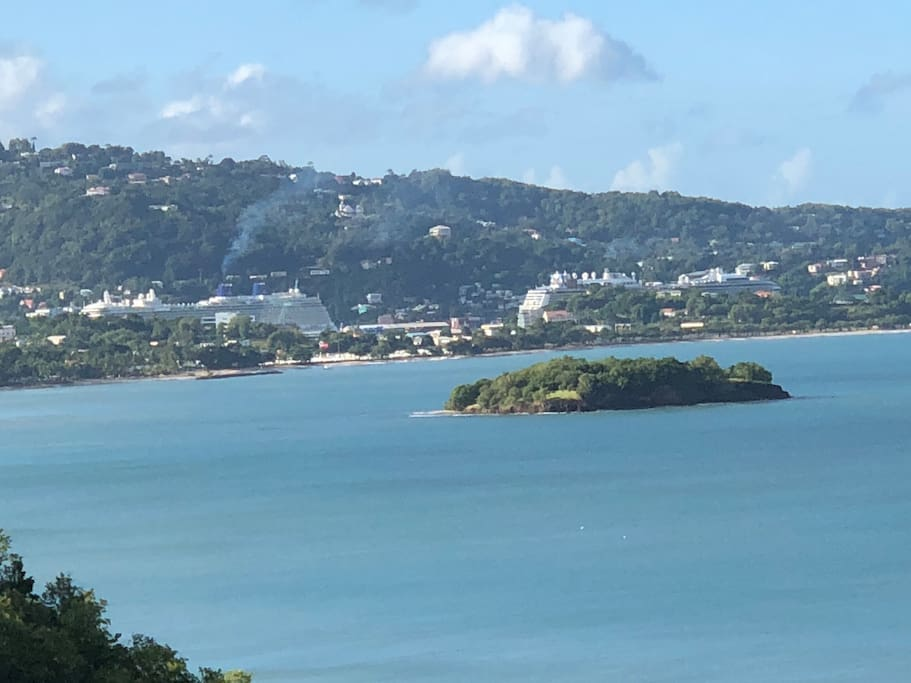 Gorgeous views of Rat Islamd, and cruise ships in the Castries Harbour.