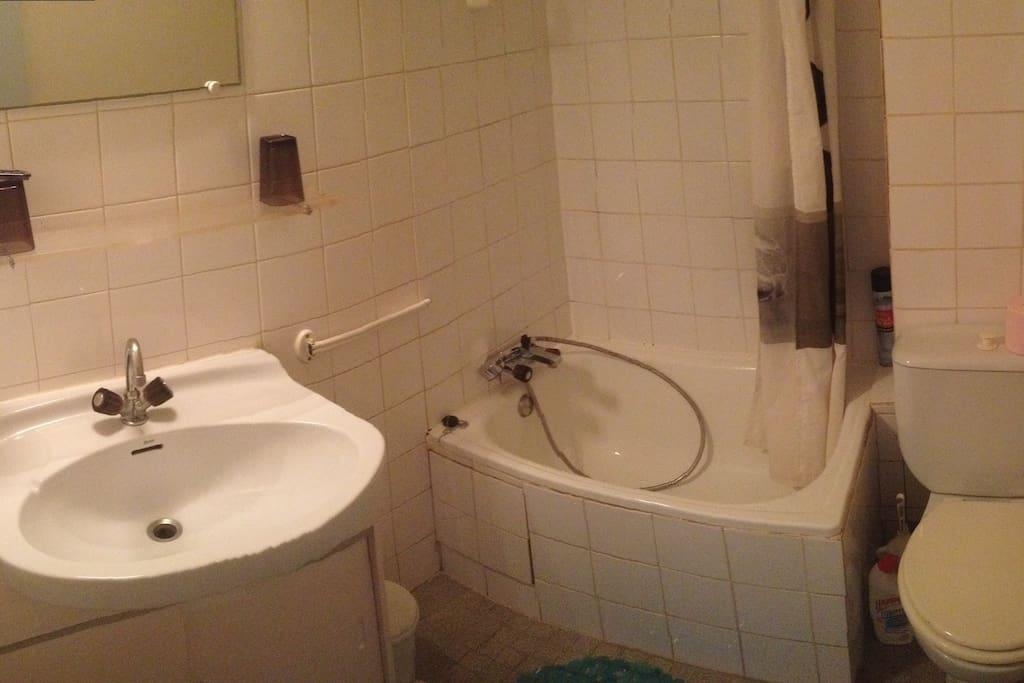 Salle de bain avec baignoire sabot