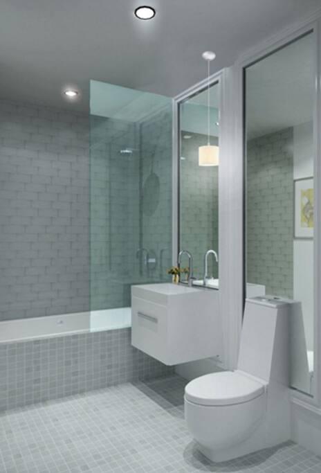 Beautiful, clean bathroom with shower/tub.
