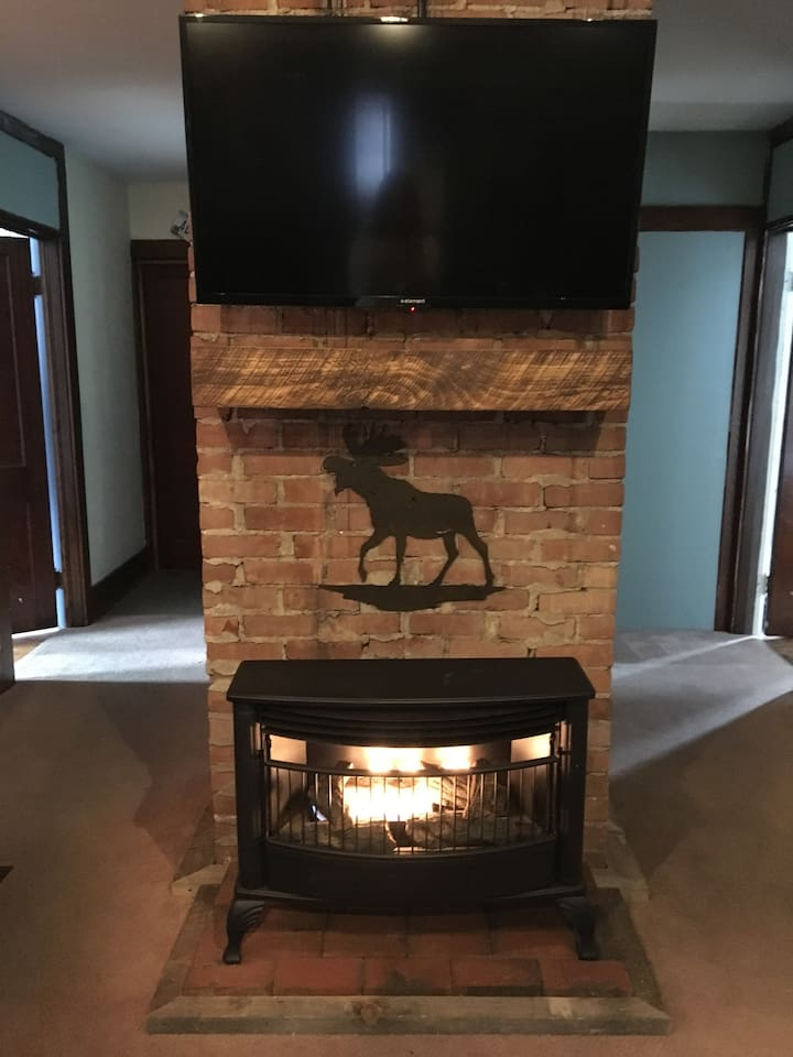 Living room fireplace and Smart TV with Netflix
