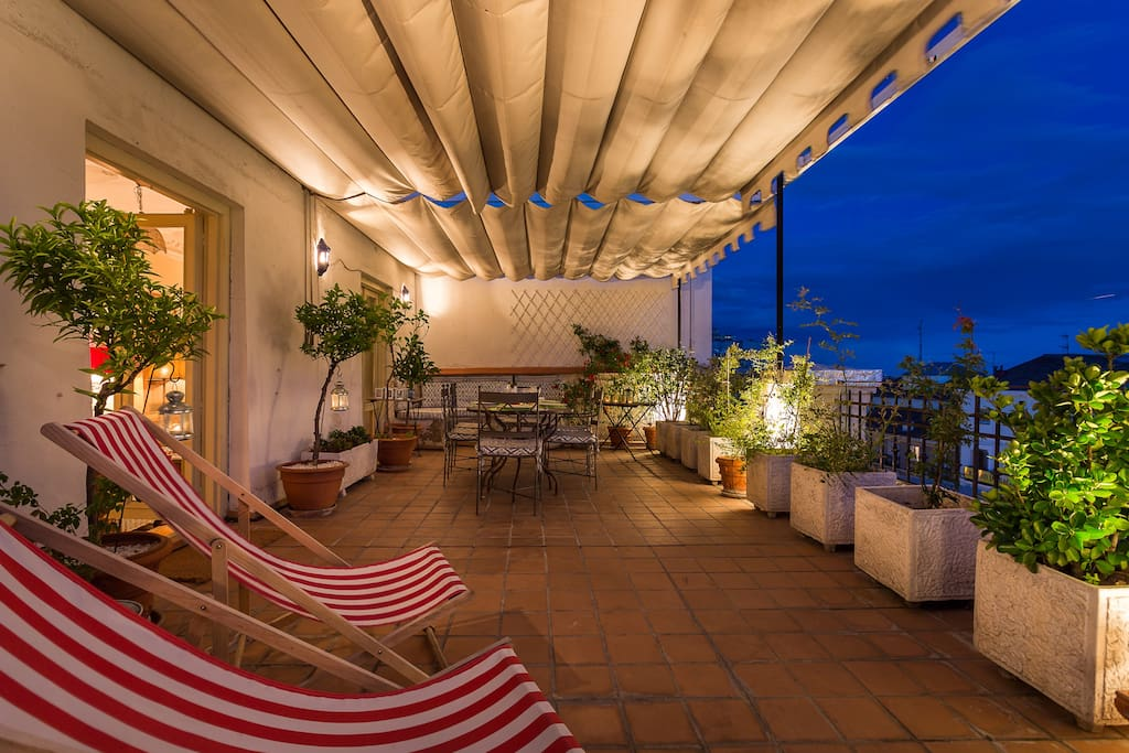 Terrace at night - perfect for relaxing with friends