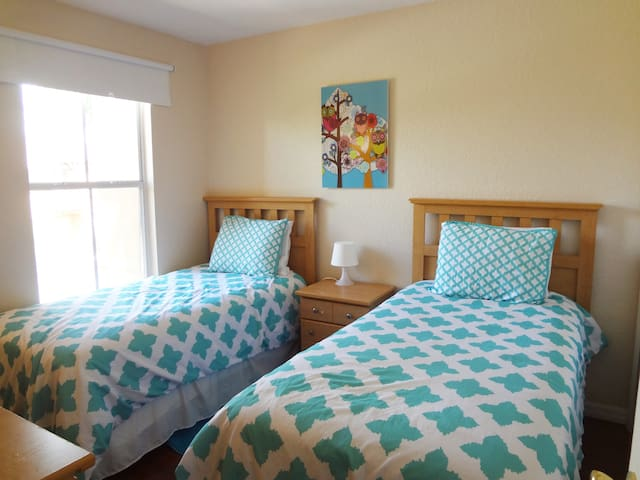 "Twin bedroom #4,  2nd floor, central air conditioning, walk in closet, 32""LED TV"