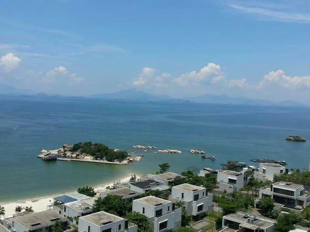 惠东巽寮湾两张1米8床的高层海景公寓---楼下就有沙滩小岛 - 惠州 - Apartemen