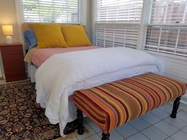 Sunroom boasts a double (full) bed. Relax and refresh!