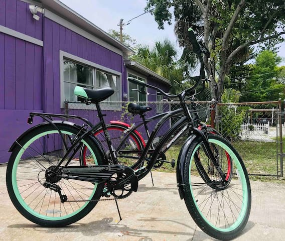 Two bikes are available to enjoy on the famed and popular Pinellas Bike Trial which is a few blocks away.   The driveway has plenty room for parking a couple of cars and/or a boat.