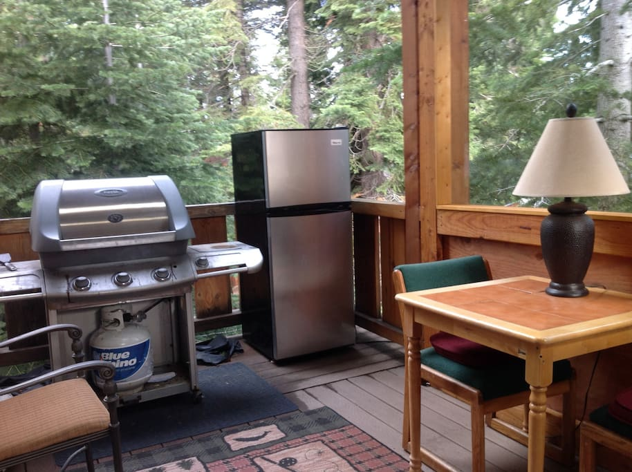 Barbeque room and fridge