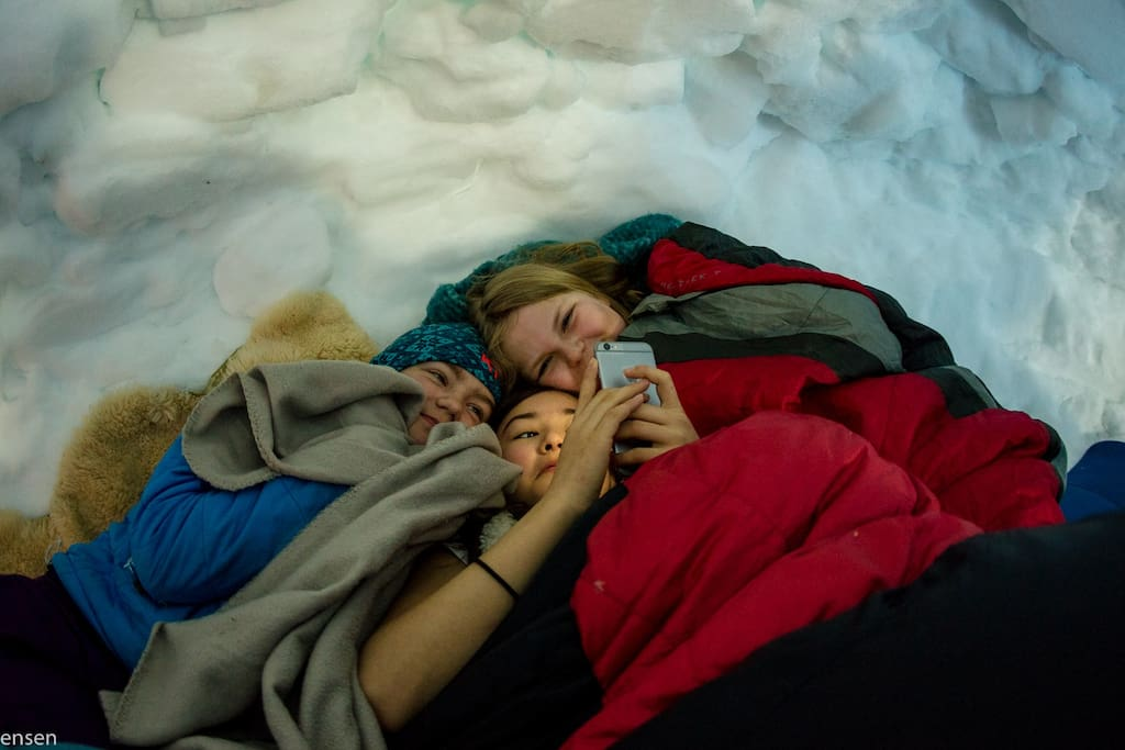 Cosy night in sleeping bags