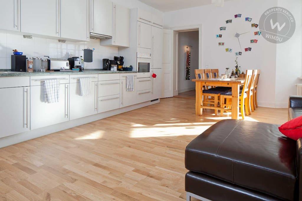 Our huge kitchen/living room.