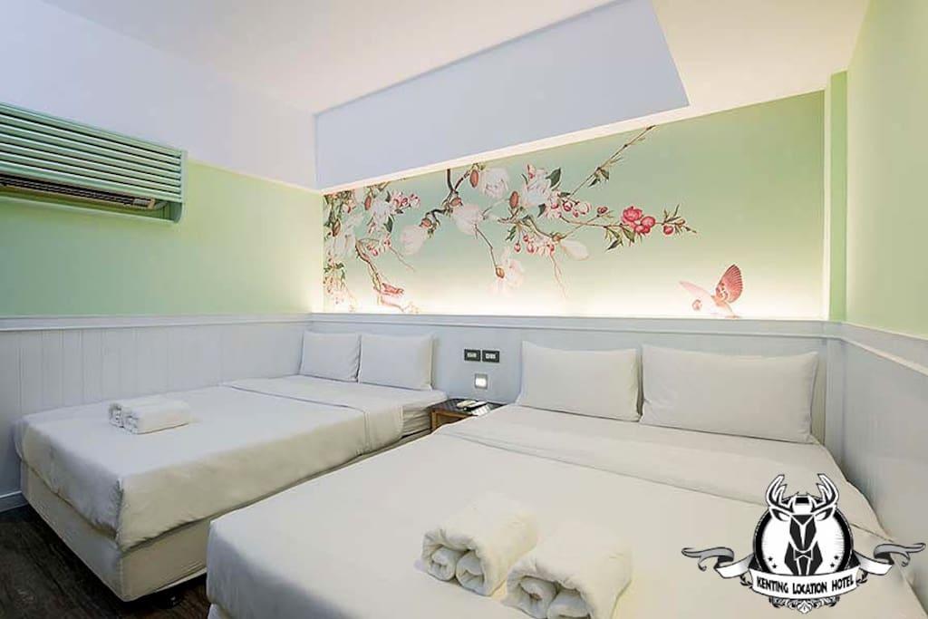 豪華經濟無窗雙人房-兩大床-獨立衛浴
