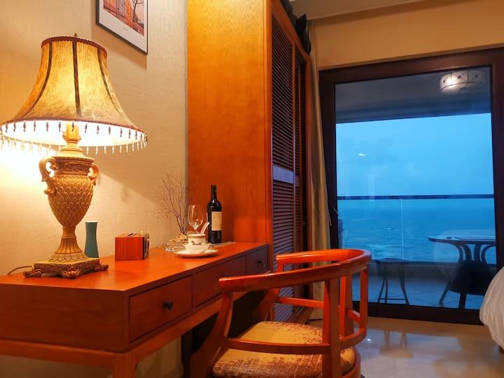 【瀚合·星斑民宿】博鳌最美海湾 俯瞰海的故事 免费停车 可做饭 中层海景欧式古典一房 三亚海口直达