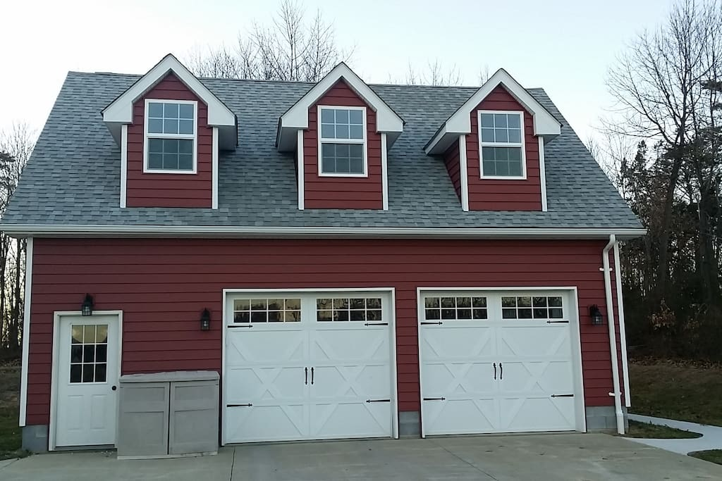 Your private apartment is above the detached garage.