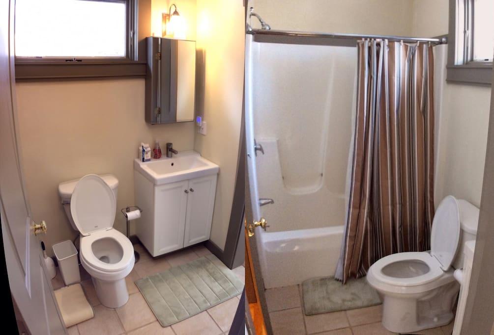 Modern ceramic bath with shower/tub on 2nd floor