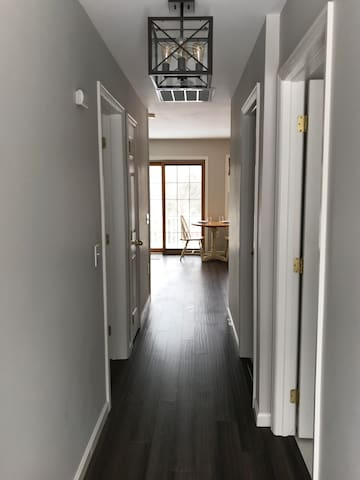 Entrance with new bamboo flooring