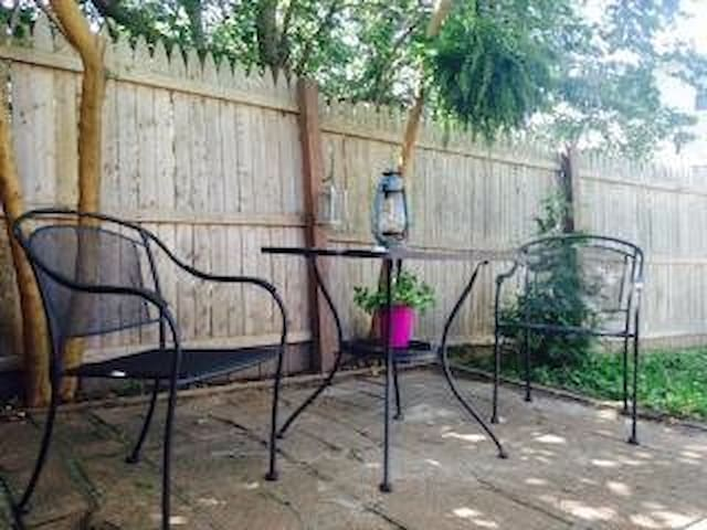 You can run your dog In the backyard, walk it on the sidewalks or take it to the area parks. Stop your dog from barking loudly!   Patio to relax; keep your volume low.   Walk along driveway sidewalk to enter backyard. Shut gate securely behind you.