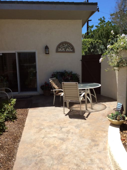 Your own private patio.. Notice the slide door. Your room.