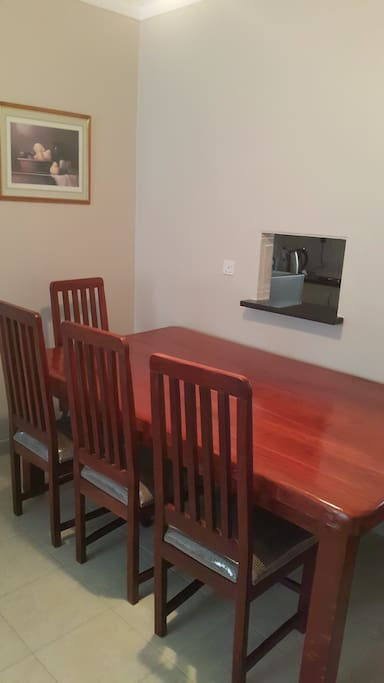 dining room with serving hatch