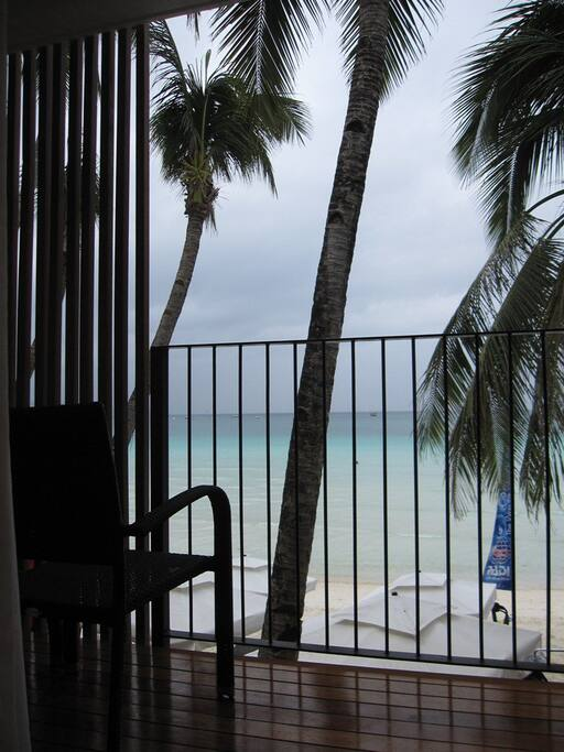 View of the famous white beach from the private balcony.