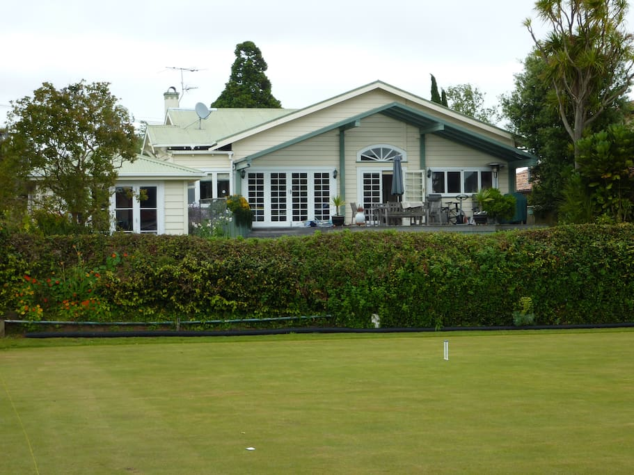 We are normally in the main house and your private deck space with view onto adjoining Croquet Lawn.