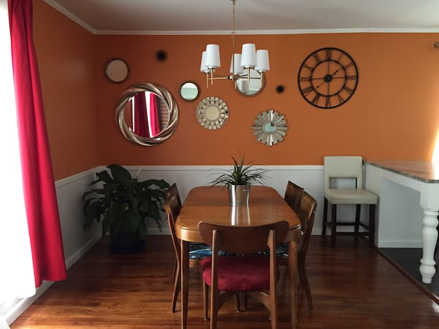 Dining area with seating for six.