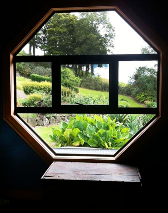 Upstairs window with view over the vegetable garden.