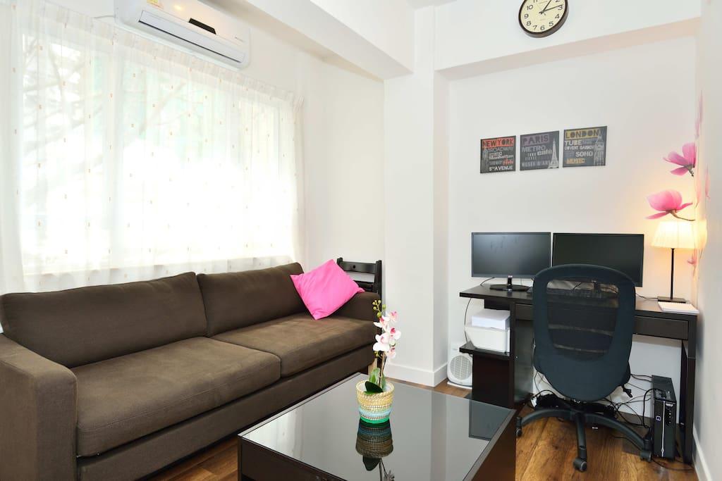 Nice living room with comfortable sofa