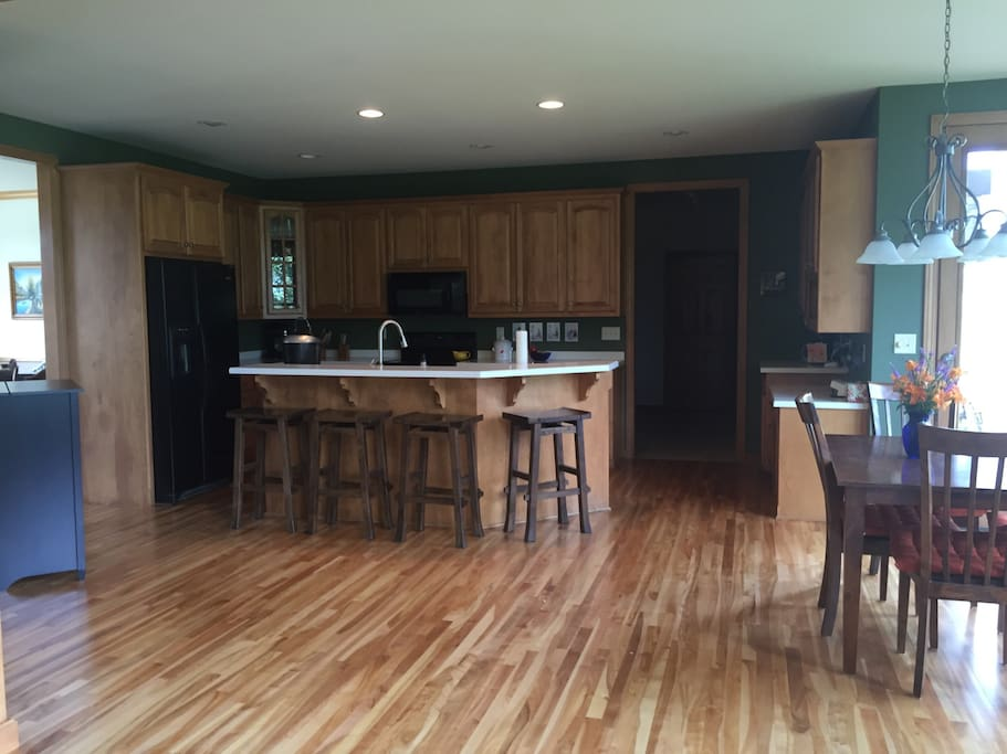 Kitchen area available for coffee and breakfast.