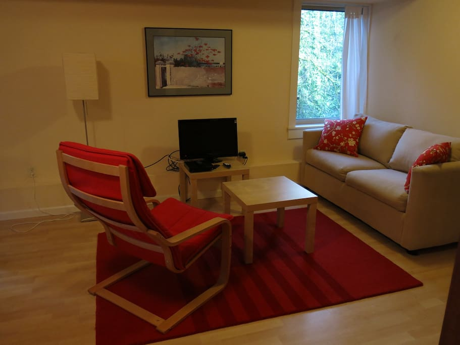 Sitting area with cable tv and pull out sofabed.