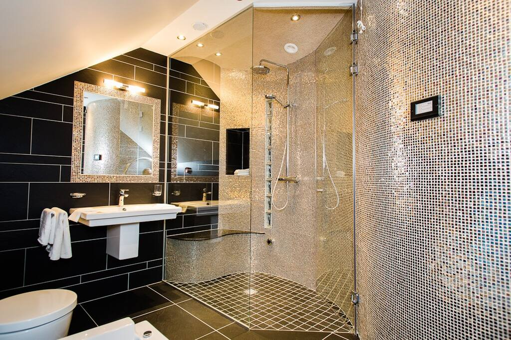 Master en suite with steam room and sunken Jacuzzi bath