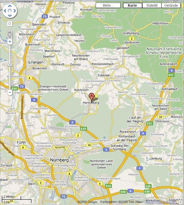 Lage- Flughafen 20 min, Nürnberg 11km