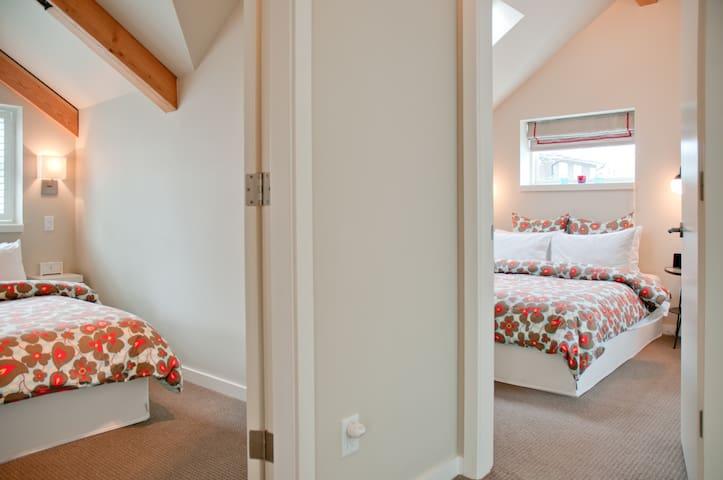 2 bedrooms upstairs with premium bedding.