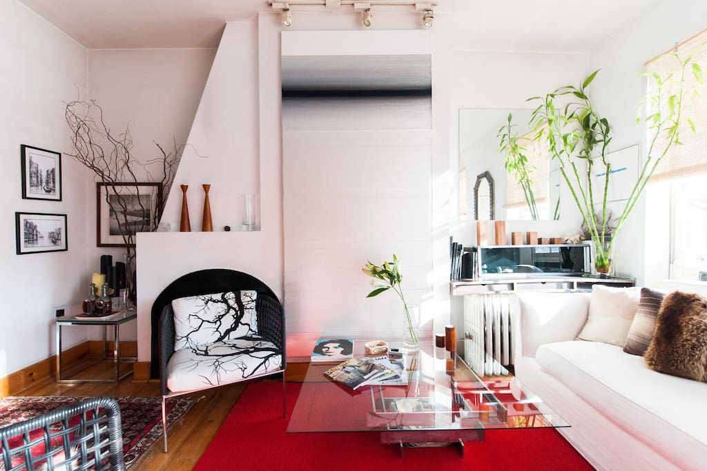 Modern and designer furnishings give this apt is attractive and simple setting