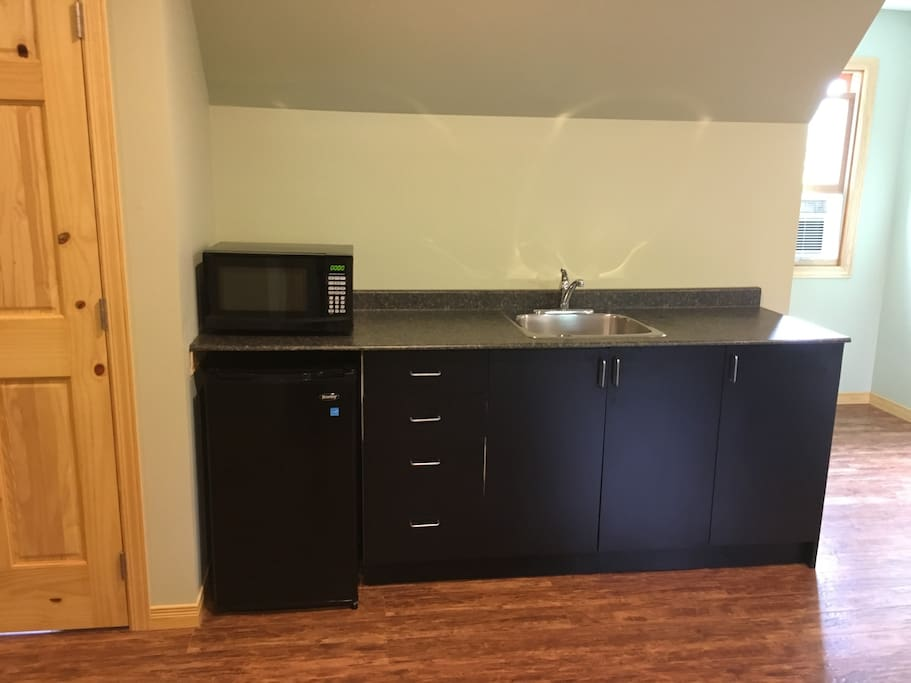 The kitchenette with sink including microwave, single induction cooktop, mini fridge, and usual kitchen accessories and utensils.